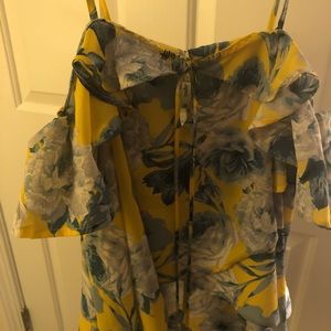 Yellow and blue flower ruffle top